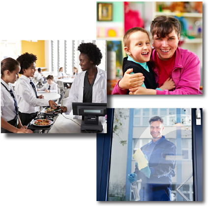 Trio of images for landing page: classroom aide, cafeteria worker, and custodian